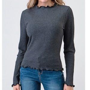 Heart Hips ribbed knit long sleeve tee NWT